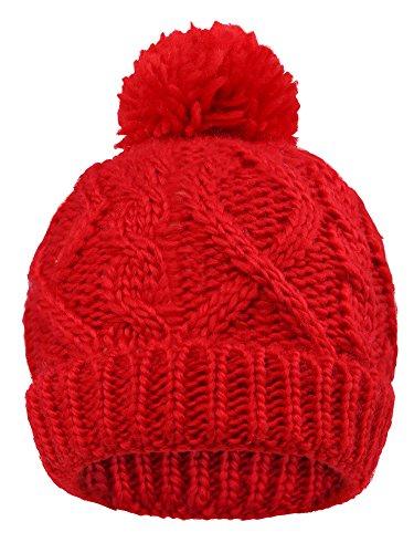 Red Kids Beanie (Arctic Paw Beanie Baby Chunky Knit Beanie with Yarn Pompom, Red with Fleece)