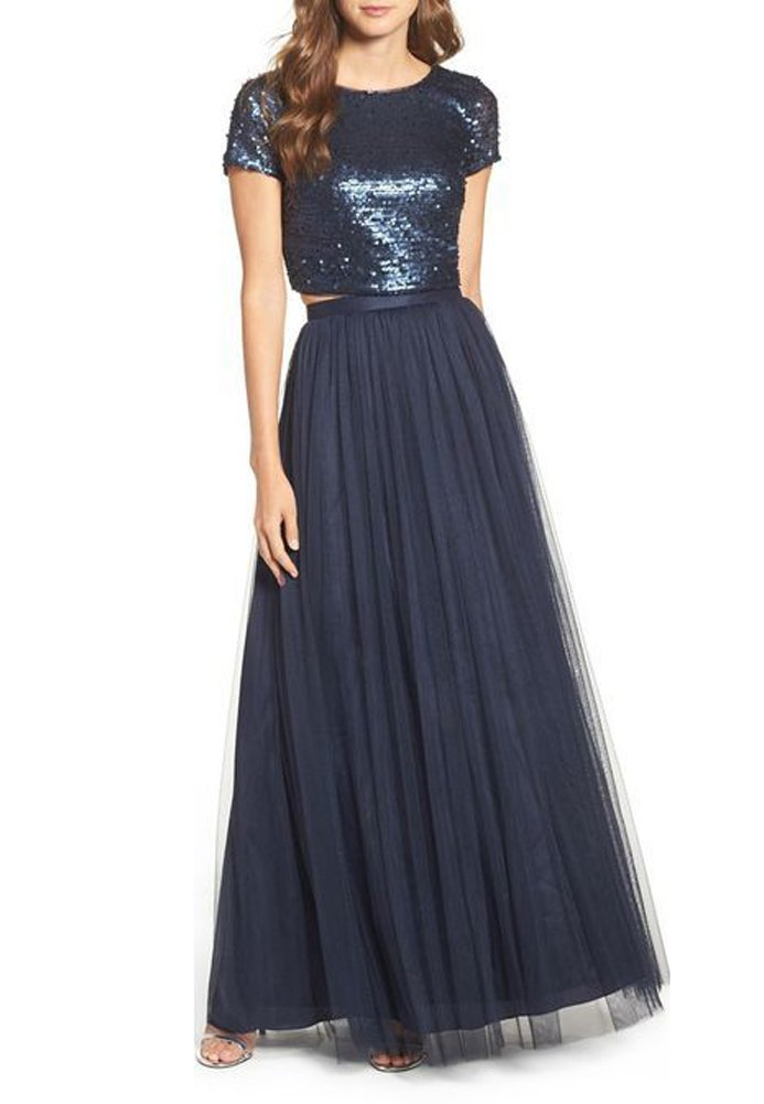 CoutureBridal Long Tulle Skirt For Womens Elastic Tutu Maxi Skirts Prom Bridal Navy