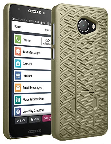 Champagne Ribbed - Jitterbug Smart2 Case, Nakedcellphone [Champagne Gold] Slim Ribbed Rubberized Hard Shell Cover [with Kickstand] for GreatCall Jitterbug Smart2 Phone (5049SJBS2, Smart-2)