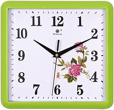 reloj digital de pared Reloj de pared, sala de estar, moda, arte creativo europeo, reloj mudo, cuadrado, hogar, reloj de cuarzo electrónico, mesa colgante, 9 pulgadas, 9811 lado verde - peonía