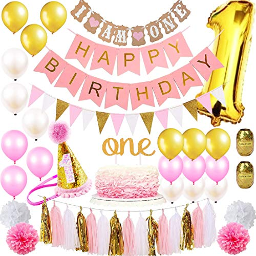 (1st Birthday Girl Decorations Mega Party Supplies Set | Princess First Pink n Gold Girls Theme Kit | 1 Year Hat, Happy Birthday Banner, Cake Topper, Number Mylar Balloon, Latex Balloons, Paper Decor)
