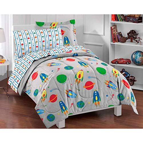 - 5 Piece Boys Grey Outer Space Themed Comforter Twin Set, All Over Rocket Ship Plants Bedding, Multi Meteor Stars, Planet Earth Moon Saturn, Orbit Rocket Comets, Gray Blue Red Yellow Green Orange