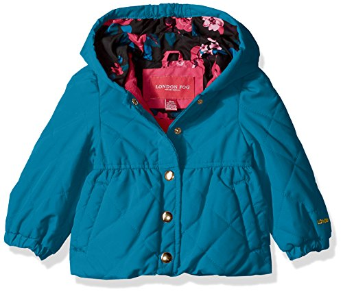 - London Fog Baby Girls Quilted Midweight Jacket with Snap Closure, Turquoise, 24M