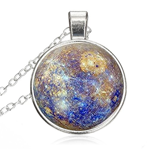 Glass Cabochon Necklace Pendant Jewelry Mercury Galaxy Theme Settings Dome Chain Statement Necklace - Glass Mercury Diy
