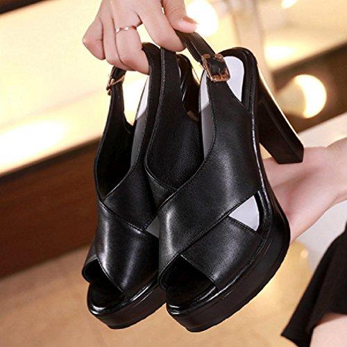Cheville épaisses Sandales Talon Formes Femmes Robe Wedge Sandales Noir Ouvert Plates Fond Pieds Haut Classic Sangle q1wtwv