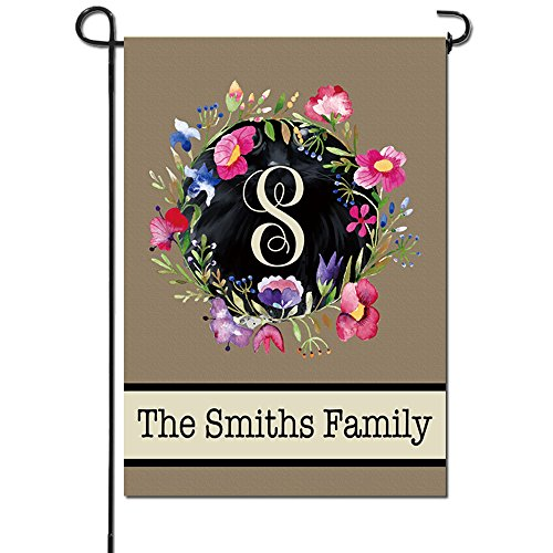 Artsbaba Personalized Garden Flag Family Name Custom Wreath