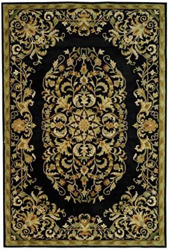 Traditional Rug – Heritage Wool Pile -Black Black Traditional 6 x 9 Medium Rectangle