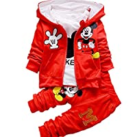 Bold N Elegant Cute Mickey Mouse Cartoon Graphics 3 Piece Autumn Winter Baby Boy Girl Clothing Set t-Shirt with Hood Jacket N Matching Pants for Infant Toddler Kids