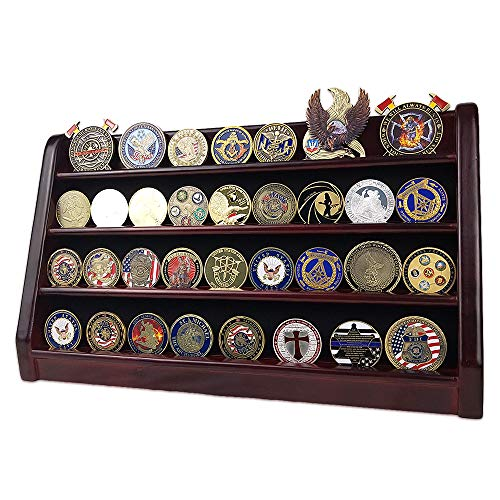 AtSKnSK 4 Rows Military Army Challenge Coin Display Stand Rack Casino Chip  Holder Case Collectible Holds 28-36 Coins