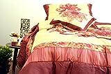 DaDa Bedding BM465L-1 5-Piece Patchwork Sunset Rubies Quilt Set, California King, Burgundy