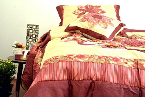 DaDa Bedding BM465L-1 5-Piece Patchwork Sunset Rubies Quilt Set, California King, Burgundy, Cal