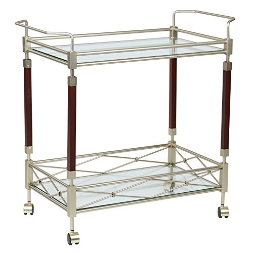 (ModHaus Living Modern Style Kitchen Serving Rolling Cart with Tempered Glass Top)