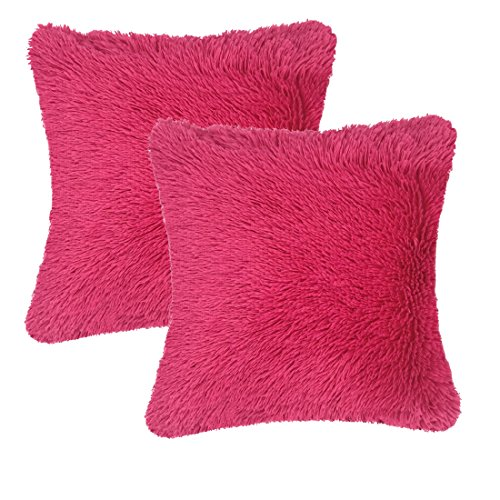 "Super Silky Soft Faux Fur Square Shaggy Throw Pillow Cover (Just A Case) 18""x 18\"" Pack of 2, Cozy Hand Feeling Fluffy Plush Fuzzy Cushion Case, Home Decor for Sofa Couch Chair Bed, Hot Pink"