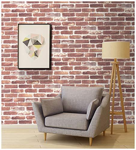 HaokHome 703 Faux Brick Wallpaper Rolls Rust Brick Wallpaper 20.8