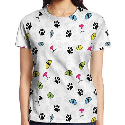 WuLion Rainbow Colored Feline Pet Paw Eyes and Face Persian Siamese Street Cats Art Print Women's 3D Print T Shirt XL White (Frame Necklace Digital Picture)