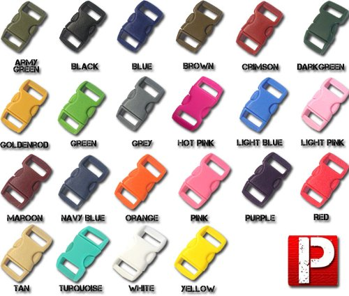 "Paracord Planet 3/8"" Contoured Side Release Buckles In Various Colors Including Neon, Clear (Transparent), and Glow In Dark Choose from 5, 10, & 20 Pack Sizes (Over 30 Colors to Choose from)"