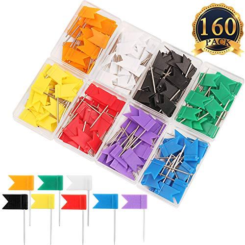 SUBANG 160 Pieces Colorful Push Pins Flag Map Tacks - Map Pins of Each Color are Packed in 8 Boxes, 8 Colors Push Tacks (Flag Thumb Tacks)