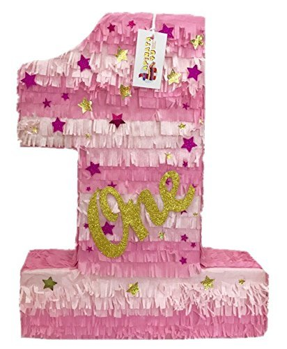 (APINATA4U Large Pink & Gold Number One with Stars Twinkle)