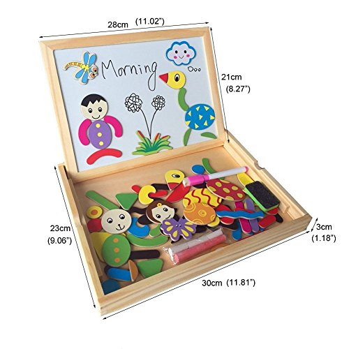 Wooden Educational Toys Magnetic Drawing Board Art Easel Animals Jigsaw Puzzles Dry Erase Double Side Magnetic Board Game Toys Gift for Kids Toddlers, Classic Theme and Dinosaur Theme, Random Delivery by Fajiabao (Image #7)
