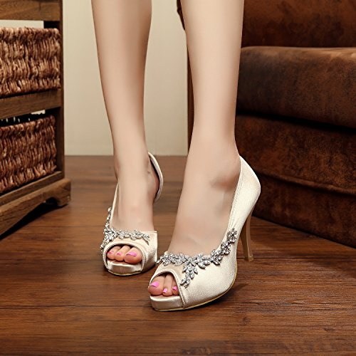 Minitoo , Peep-Toe femme - marron - Champagne-10cm Heel,