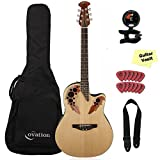Ovation Applause Elite AE44-4 Acoustic Electric Guitar, Natural, with Gig Bag and Accessory Kit