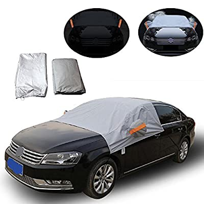 Universal Fit Waterproof Automotive Windshield Snow Cover Thickened Cotton,DiDaDi Half Body SUV CRV Truck Windshield Snow Tarp Durable Car Cover UV ICE Frost Dust Sunshade Protection