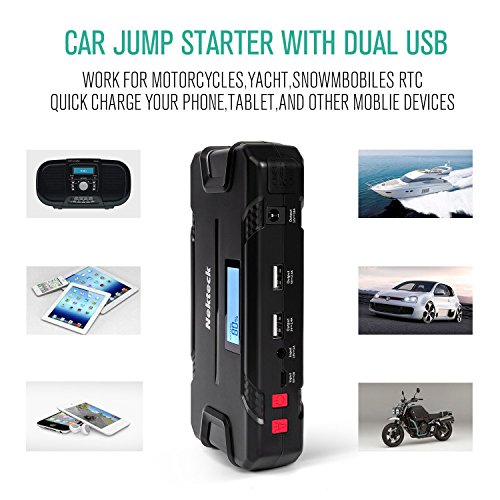 Nekteck Car Jump Starter Portable Power Bank External Battery Charger 500A Peak with 12000mAh - Emergency Jump Pack Auto Jumper for Sedan Van SUV Boat Smartphone USB Device and More by Nekteck (Image #3)'