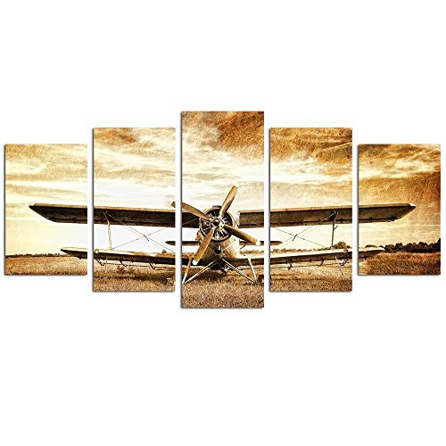 - LevvArts - 5 Panel Canvas Wall Art Old Retro Aircraft Biplane Pictures Print on Canvas Framed and Ready to Hang Aviation Airplane Artwrok Antique Home Wall Decor