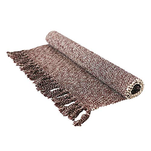 Eanpet Braided Rug Cotton Area Rug Hand Woven Reversible Floor Rug Pure Tassels Throw Rugs Door Mat Laundry Room Rug with Non-Slip Pads Indoor Area Rugs Tablecloth Runner Bathroom Linen 2x6 FT