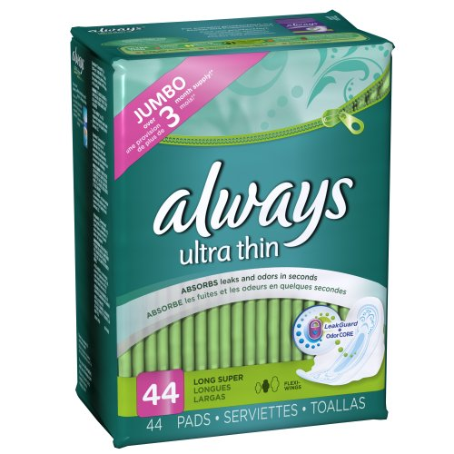 Always Ultra Thin Feminine Pads with Wings, Long/Super, Unscented, 44 Count - Pack of 2 (88 Total Count)