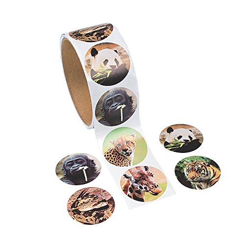 [Fun Express Zoo Animal Stickers (1 Roll)] (Roll Stickers)