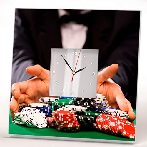 Poker Player w. Chips Casino Table Wall Clock Framed Mirror Decor Fan Design Art Printed Home Gift