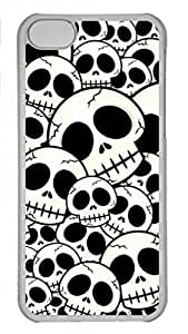 Hard Platic Transparent PC Case Cover for iPhone 5C,Skull Pattern Case for iPhone 5C