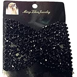 Lovef 2 Pcs Black Stretch Flower Bow Glass Bead Hair Head Comb Cuff Double Clip Gift