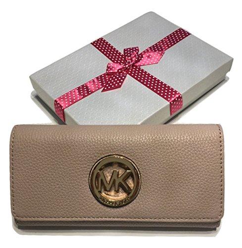 Michael Kors Fulton Flap Continental Clutch Wallet - Bag Kors Rose Michael Gold