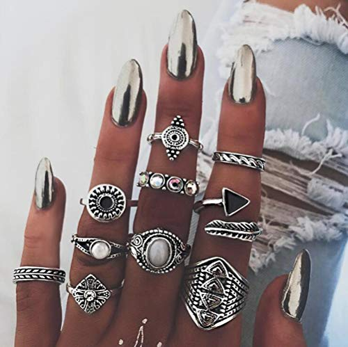 (Deniferymakeup New Version Knuckle Rings Gemstone Rings Feather Arrow Tail Rings Gold Silver Tone Rings Jamber Jewelry Nature Rings Finger Accessories Flower Engraved Triangle (Set of 10) (Silver))