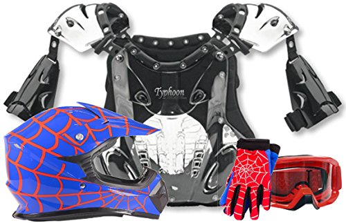 Youth Kids Peewee Offroad Gear Combo Helmet Gloves Goggles Chest Protector Motocross ATV - Blue Spiderman - Small