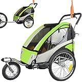 ebikeco Remolque de bicicleta 4 Verde, suspension, rueda 360º, 2 plazas 504S-02