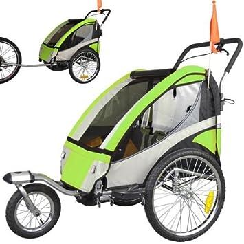 ebikeco Remolque de bicicleta 4 Verde, suspension, rueda 360º, 2 plazas 504S-02: Amazon.es: Deportes y aire libre