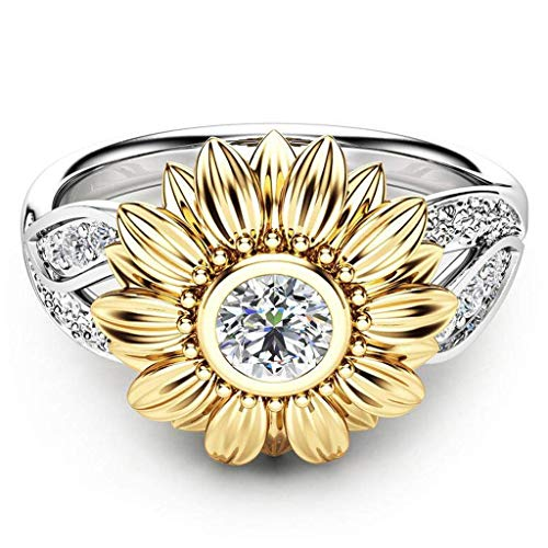 Orcbee  _Exquisite Women's Two Tone Silver Floral Ring Round Diamond Gold Sunflower Jewelry (5)