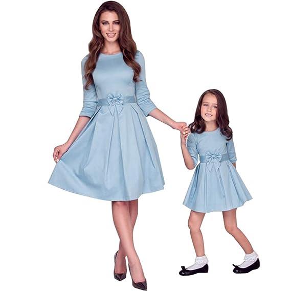 JEELINBORE Casual Vestido Familia Mangas 1/2 Madre e Hija Skater Vestidos Midi con Bowknot