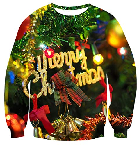 Couples Merry Christmas Jumper 3D Xmas Tree and Lights Print Knitwear Ugly Sweatshirt Sweater for Family Indoor Swear M Navy -