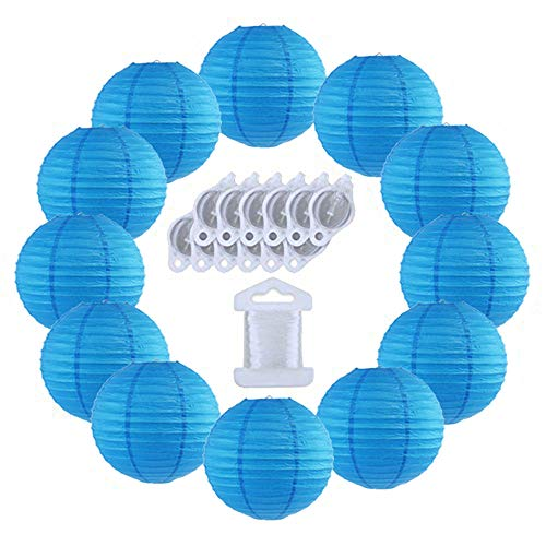 (Just Artifacts 12inch Decorative Round Chinese Paper Lanterns 10pcs w/ 12pc LED Lights and Clear String (Color: Blue))
