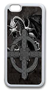 iPhone 6 Case, Celtic Cross Dragon Custom TPU Soft Case Cover Protector for iPhone 6 White