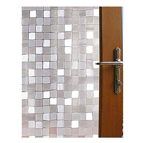 Becry Plastic Static Cling 3D Mosaic Bathroom Shower No Adhesive Window Film Heat Control UV Anti Frosted Privacy Window Film,35.5 78.7 Inches(90 x 200CM)