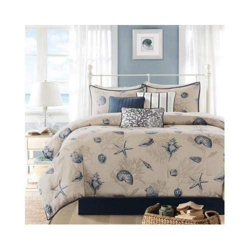 modern seashell blue beige cotton comforter 7 piece bedding set with pillows king scented candle tart included
