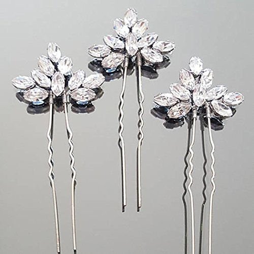 Artio Wedding Hair Pins Accessories with Rhinestones for Women and Girls 3PCS (Silver)