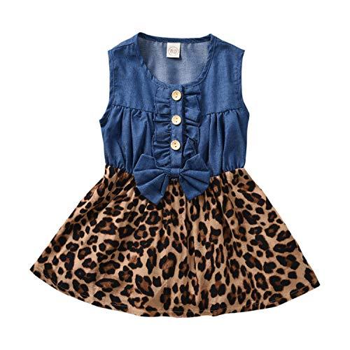 Mr.Lang Little Girls Princess Summer Sleeveless Blue Denim Leopard Print Tutu A-Line Dresses (Blue, 4-5 Years) -