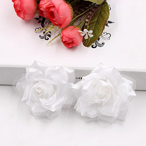 Artificial Flowers Silk flowers head Large Silk 2 Color Fire Rose Head For Wedding Decoration DIY party festival Home Decor Garland Decorative Floristry Fake Flowers 10pcs (white)