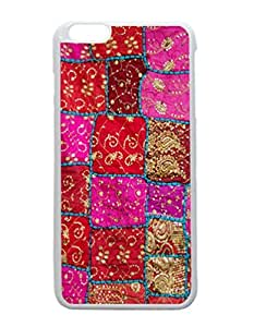 iPhone 6 Plus White Case - Pink Patchwork Indian Wall Hanging Patterned Protective Skin Hard Case Cover for Apple iPhone 6 Plus with 5.5 inch - Haxlly Designs Case hjbrhga1544